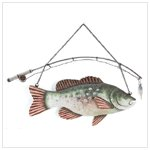 METAL FISH & POLE WALL PLAQUE