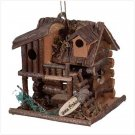 WOOD FISHING CABIN BIRDHOUSE