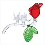 Glass Frost Birds On Red Rose