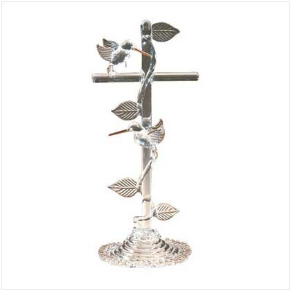 SPUN GLASS H-BIRD ON CROSS