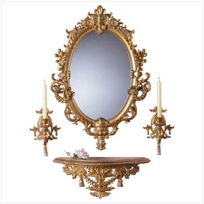 4Pc Baroque Mirror/Sconces/Shelf