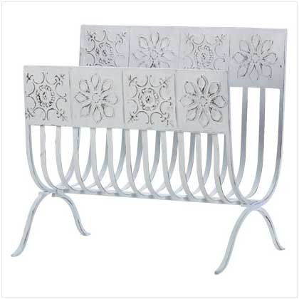Distress White Tiles Magazine Rack