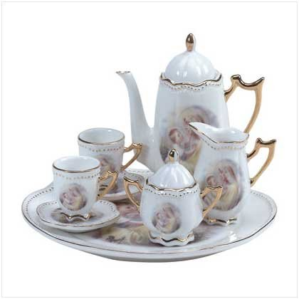 10-PC CER. MARY/JESUS TEA SET