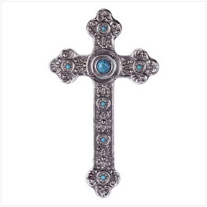 Alab Turquoise/Silver Finish Cross