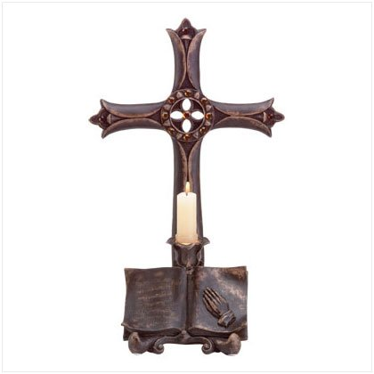 CROSS/BIBLE CANDLEHOLDER