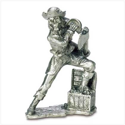 Pewter Pirate with Treasure Chest