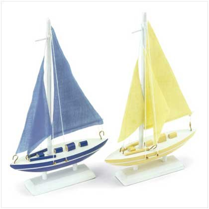 SET OF 2 WOOD SAIL BOAT