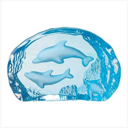 BLUE GLASS CARVED DOLPHINS
