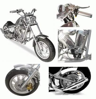 49cc - 2 Stroke Chrome Chopper - Up to 24 MPH  free shipping