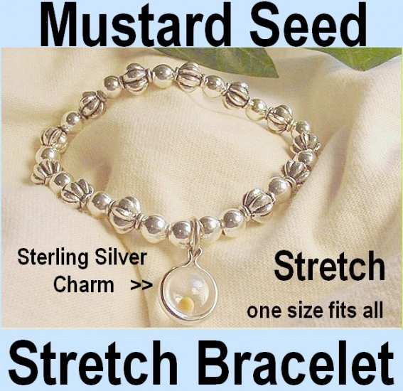 "Friendship Jewelry Bracelet"" Mustard Seed Charm Fluted Bead Bracelet - Gift Box and Bible Card"