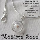 "A Daughter's Faith"" Mustard Seed Necklace Sterling Silver Ball Charm"