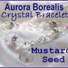 "Carols Accents"" Mustard Seed Charm Bracelet AB Crystal"