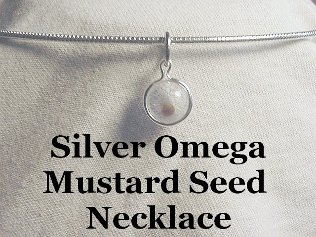 Mustard Seed Charm Necklace Silver Omega Adult and Teen Sizes