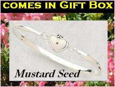 Mustard Seed Cuff Bracelet, Gift Box, Prayer Card