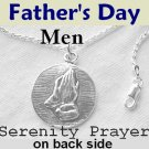 "A Father's Love"" Men's Serenity Prayer Necklace Sterling Silver Praying Hands Pendant"