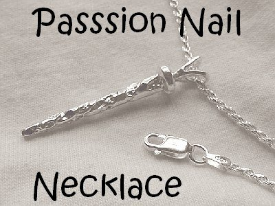 Men's Christian Jewelry Passion Nail Necklace Sterling Silver choic of 18 or 22 inch Solid Rope