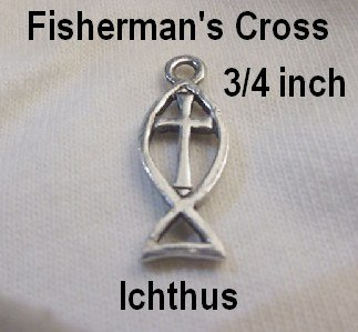 Fisherman's Cross Charm Silver Pewter