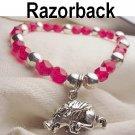 Arkansas Razorback Hog Charm Bracelet Silver