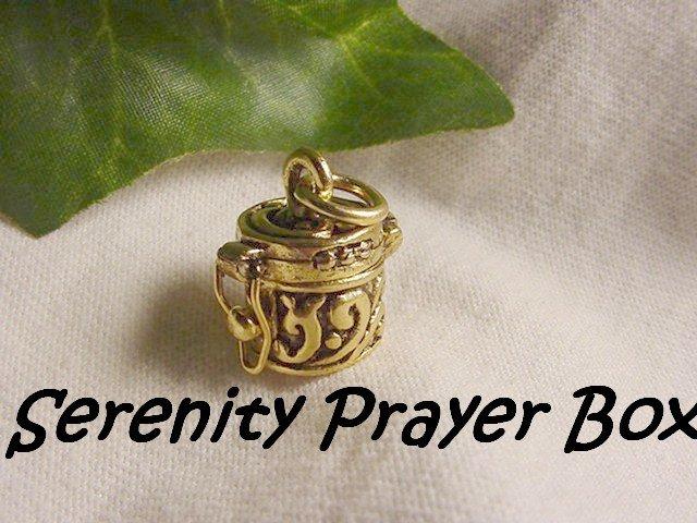 "Gold Serenity Prayer"" God Box Charm for necklace, bracelet, pocket charm"