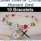 Set of 10 Mustard Seed Jewel Tone Bracelets
