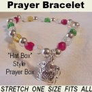 Colors Crystal Prayer Box Charm Bracelet with Gift Box