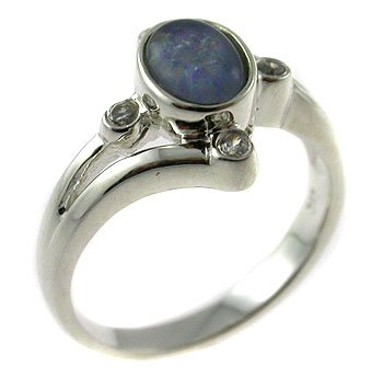 Genuine Triplet Opal & CZ With 925 Sterling Silver Ring