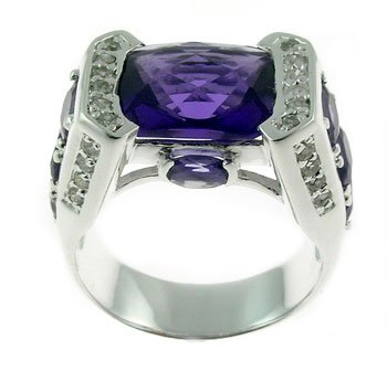Created Amethyst, Diamond 925 Sterling Silver Ring