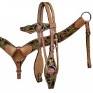 #12750 Headstall and Breastcollar Set with Hand Painted Pink and Green Tooled Accents