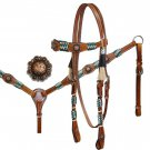 #127533 Lot Of 3 Headstall, Reins and Breastcollar Sets w/Colored Rawhide Accents