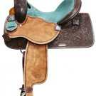 #6521-14 Showman &quot;Teal Glow&quot; Leather Barrel Saddle - 14&quot; Seat