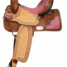 #6538-14 Double T Barrel Style Saddle with Pink Alligator Trim and Crystals - 14&quot; Seat
