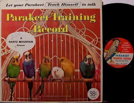 "Parakeet Training - 10"" Vinyl LP Record - Hartz Pet Company - Bird Animal - Odd Unusual"