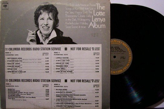 Lenya, Lotte - The Lotte Lenya Album - 2 Vinyl LP Record Set - DJ Timing Strip - Odd Unusual