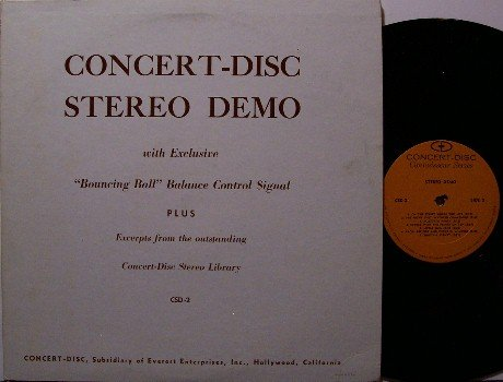 Concert Disc Stereo Demo - Vinyl LP Record - Hi Fi Test Album - Bouncing Ball Signal - Odd Unusual
