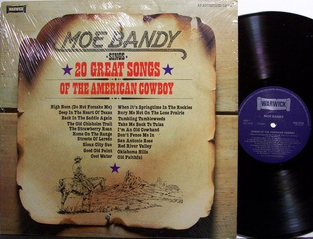 Bandy, Moe - 20 Great Songs Of The American Cowboy - UK - Vinyl LP Record - Country