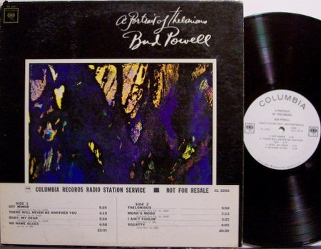 Powell, Bud - A Portrait Of Thelonious Monk - Vinyl LP Record - White Label Promo - Mono - Jazz