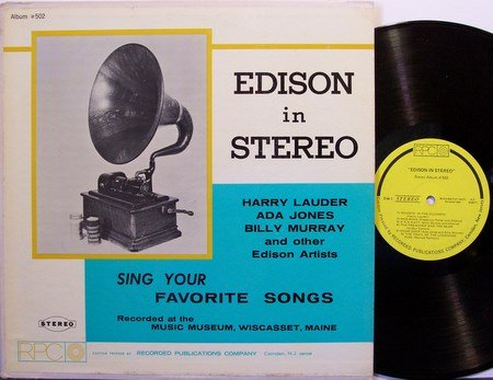 Edison In Stereo - Misc Edison Cylinder Records On Album - Vinyl LP Record - Weird Unusual