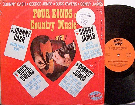Four Kings Of Country Music - Vinyl LP Record - Johny Cash / Buck Owens / George Jones etc