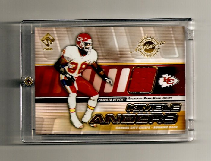 2001 Private Stock Kimble Anders Game-Used Jersey card- Chiefs