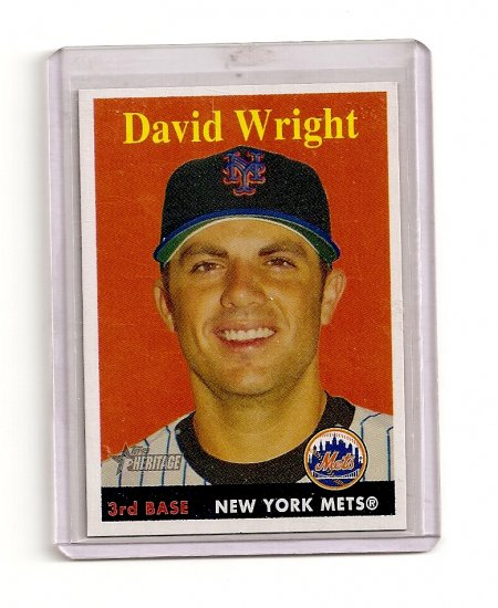 2007 Topps Heritage David Wright YN card# 92 - Yellow Name - Mets