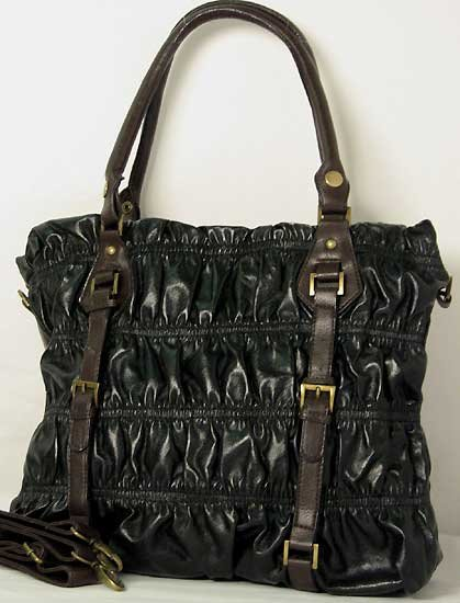 Designer Inspired Black Pleated Bag