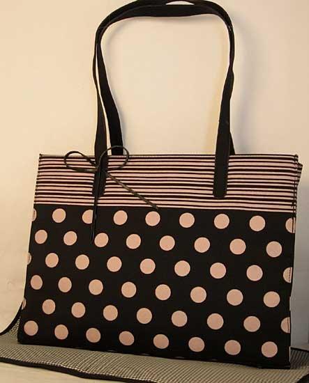 Dot Stripe Black Light Pink Diaper Bag Set Polka Dot