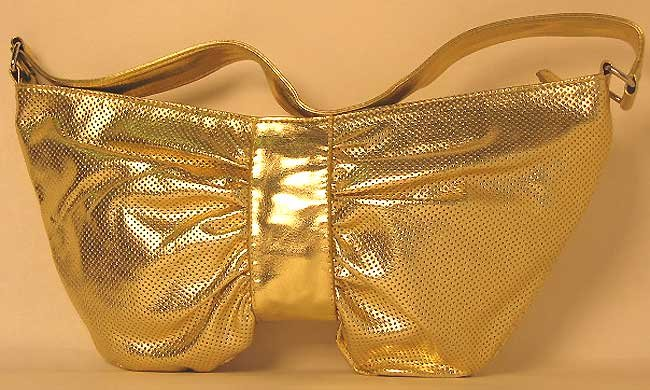 Designer Inspired Metallic Gold Slouch Bow Satchel Bag Purse