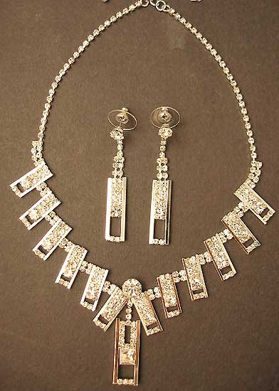 Rhinestone Necklace Earring Set Stud Silver Link Dangle