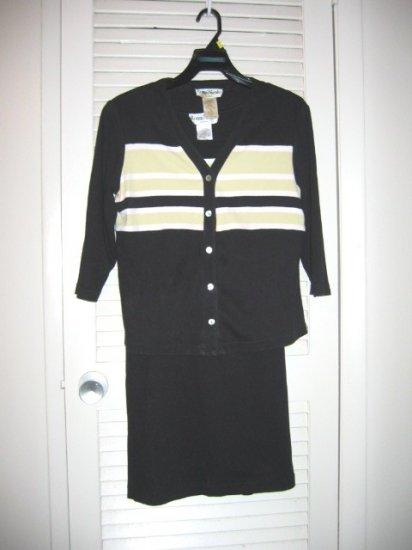 Black/Lime Green Stripe Ronni Nicole Sleeveless Knit Dress and Jacket