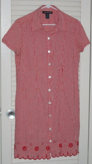 Red/White Gingham Gingerbread Dress with Lace Embroidery Trim 14