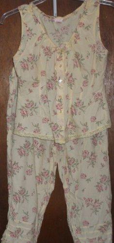 Victoria's Secret Yellow/Rose Floral Victorias Pajamas Sleepwear Nightie Lounge Set Nightgown Medium