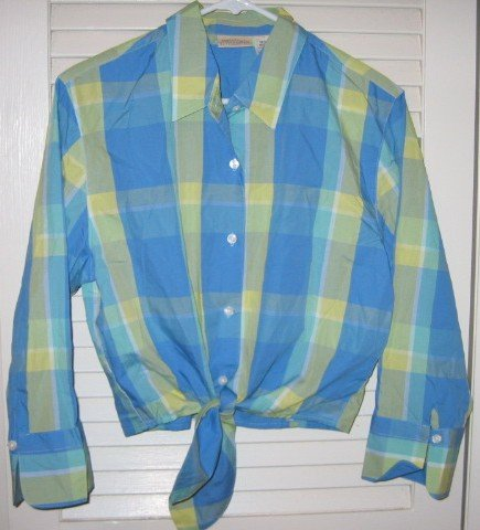 Blue/Green/Yellow Stripe Tie Front Blouse Medium