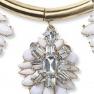 Crystal Medallion Wedding Bridal White Flower Pendant Necklace Earrings Set New