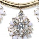 Crystal Medallion Wedding Bridal White Flower Pendant Necklace Earrings Set New